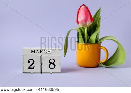 Calendar For March 28 : A Cube With The Number 28, The Name Of The Month March In English, A Scarlet
