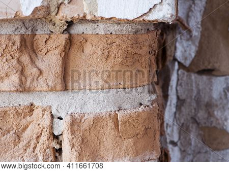 Old Brick Wall. Brick Wall Background, Brick Texture. Background, Old Wall, Red Brick. Close-up, For