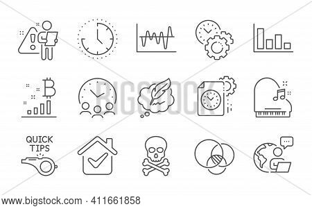 Euler Diagram, Piano And Stock Analysis Line Icons Set. Time, Time Management And Histogram Signs. C
