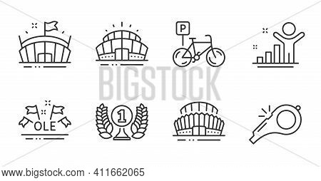 Bicycle Parking, Winner And Sports Stadium Line Icons Set. Ole Chant, Arena And Arena Stadium Signs.
