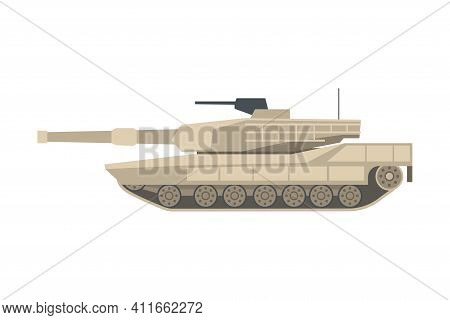 Armoured Tank As Military Transportation And Fighting Vehicle For Front-line Combat Vector Illustrat