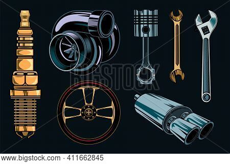 Vintage Car Repair Elements Set. Colored Parts And Tools, Retro Chrome Engine, Wrenches Concept. Vec