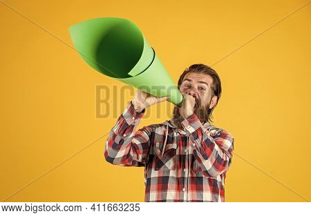 Politics And Censorship. Stop Being Silent. Hipster Screaming In The Megaphone Activist Speaks At Ra