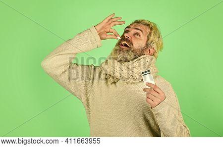 Painkillers Pills. Headache Treatment. Sick Man With Vitamin Pills. Helpful Tablets. Vitamin In Tabl
