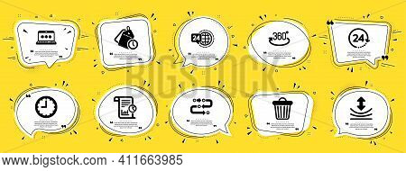 Technology Icons Set. Speech Bubble Offer Banners. Yellow Coupon Badge. Included Icon As Full Rotati