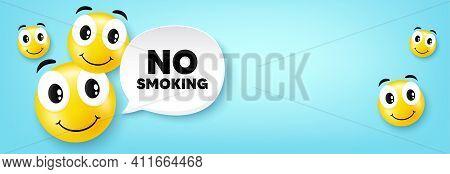 No Smoking Banner. Smile Face With Speech Bubble. Stop Smoke Sign. Smoking Ban Symbol. Smile Charact
