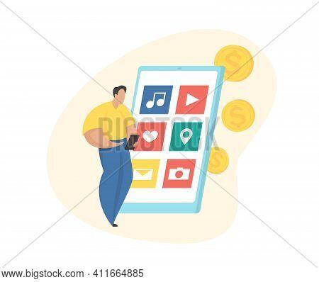 App Monetization Concept. Mobile Application Advertisement. Flat Illustration