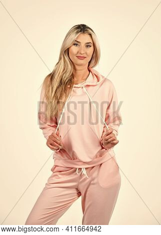 Fitness Woman Wear Sportswear. Style For Daily Life. Gym Fashion. Girl In Sweatpants And Hoodie. Tre