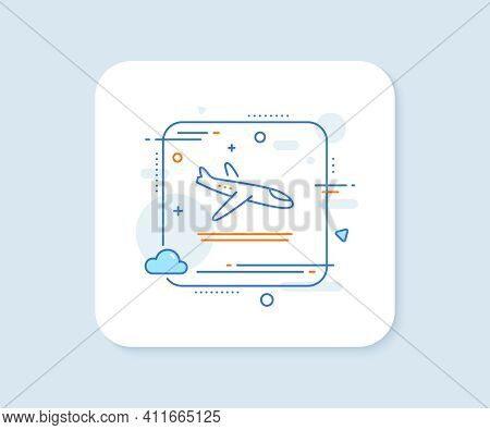 Airport Arrivals Plane Line Icon. Abstract Square Vector Button. Airplane Landing Sign. Flight Symbo