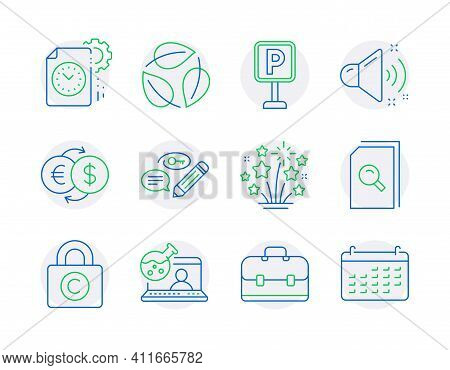 Business Icons Set. Included Icon As Loud Sound, Search Files, Online Chemistry Signs. Money Exchang
