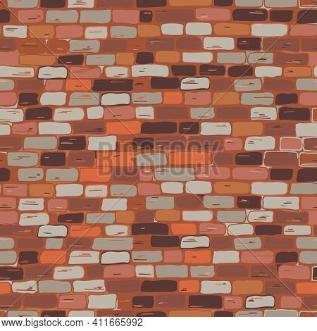 Brickwork Seamless Pattern. Vector. The Wall Is Brick, Red, Brown, Orange, Gray.freehand Drawing