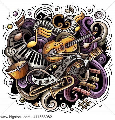 Cartoon Vector Doodles Classic Music Illustration