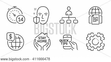 Quarantine, Seo Gear And Face Protection Line Icons Set. Education, World Money And Stay Home Signs.