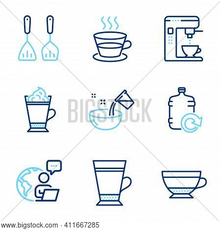 Food And Drink Icons Set. Included Icon As Cooking Cutlery, Coffee Cup, Refill Water Signs. Cooking