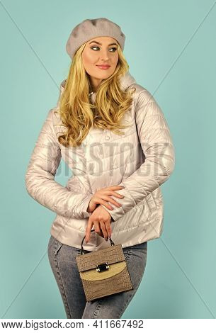 Trendy Girl Holding Small Bag. Stylish Accessories. Fashionable Woman In Jacket. Spring Fashion. Fem