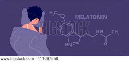 Melatonin Hormone. Structure Hormones Sleep, Flat Person Sleeping In Dark. Science Education Banner,