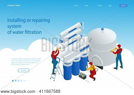Isometric Installing Or Repairing System Of Water Filtration At Home Concept. Fix Purification Osmos