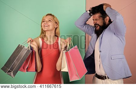 Family Budget. Consumerism Addictive Behavior. Couple In Mall. Shopaholic Girlfriend. Black Friday C