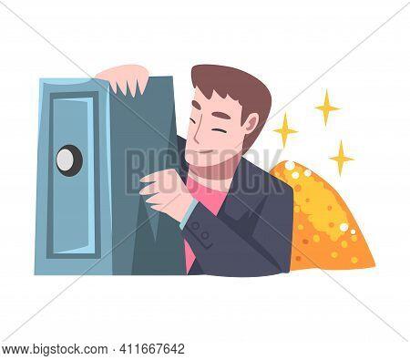 Affluent And Rich Man Near Safe Deposit Having Abundance Of Financial Assets Vector Illustration