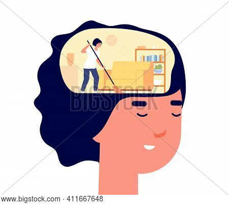 Mind Cleaning. Head Health, Mental Problems Treatment Metaphor. Self Detox, Woman Caring About Her B