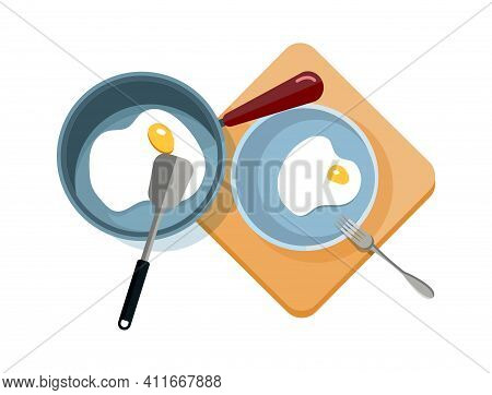 Fried Eggs. Scrambled Eggs In Pan And On Plate. Isolated Breakfast Cooking, Food Preparation Process