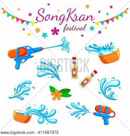 Songkran Festival. Color Thai Water Party, Thailand Travel Elements. Wet Asian Traditional Holiday,