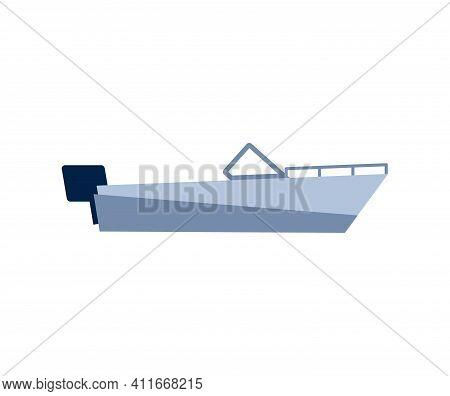Small Light Motorized Boat Symbol Or Sign, Flat Vector Illustration Isolated On White Background. Wa