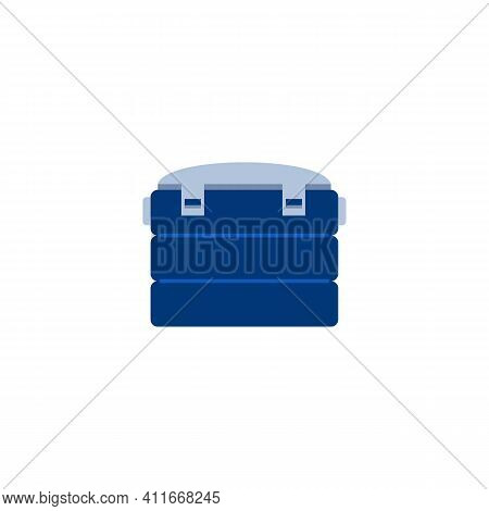 Fishing Tackle Box Icon. Container Fisherman For Baits, Rod Or Catch. Flat Vector Illustration Isola