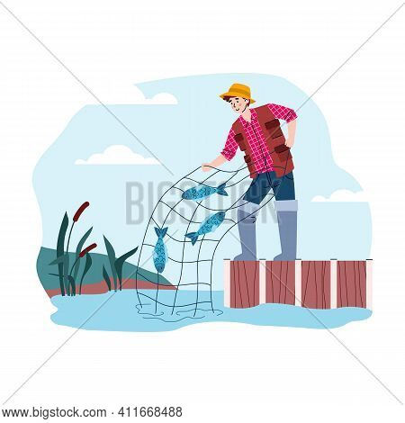 Happy Fisherman Pulls Net With Catch Fish. Outdoor Hobby, Activity And Leisure For Fishers In Fishin