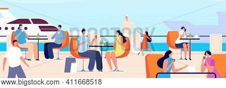 Summer Outdoor Cafe. Seaside Restaurant, People In Seaview Cafeteria. Ocean Vacation, Travel Time Or