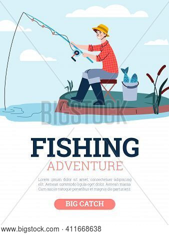 Fisherman Catch Fish Sitting On Shore. Man Holds Fishing Rod In Water And Waits For Bite. Vector Pos