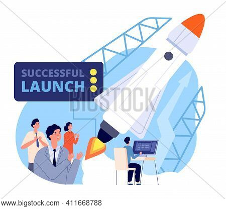 Business Launch. Launching Startup, Fly Spaceship Project. Start Process, Management Strategy Or Inn