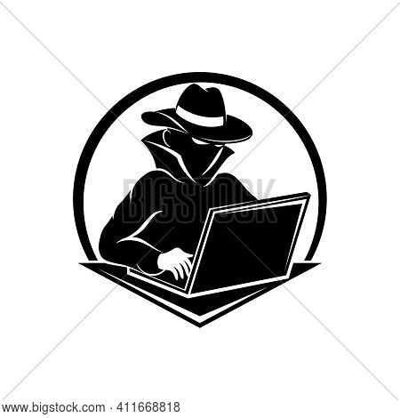 Hacker Icon With Laptop On White Background.