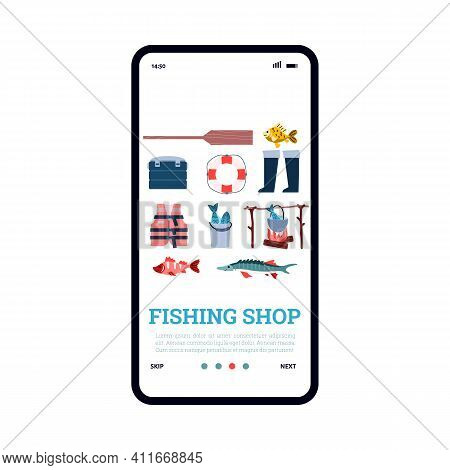 Onboarding Mobile Page For Fishing Shop With Various Fisherman Supplies, Cartoon Vector Illustration