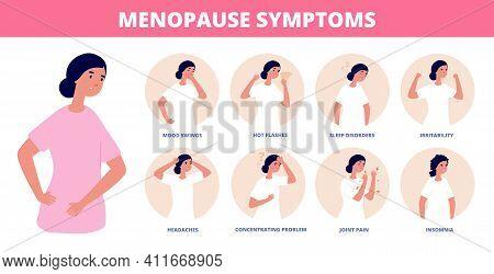Menopause Symptoms. Woman Diseases, Libido And Estrogen Hormones Concentration. Fatigue Depression A