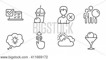 Ice Cream, Ice Cream Milkshake And Energy Line Icons Set. Search People, Remove Account And Online S