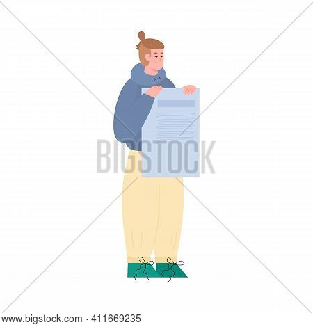 Cartoon Character Of Man Holding In Hands List, Vector Illustration Isolated On White Background. Ma