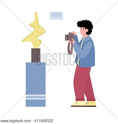 Man In Museum Takes Photo Of Sculptural Exhibit, Cartoon Vector Illustration Isolated On White Backg