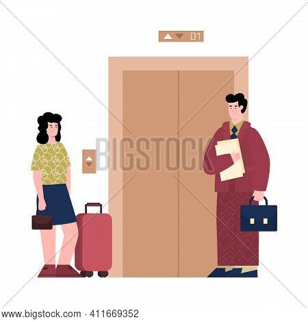 Hotel Administrator Or Receptionist Accompanies The Guest To Room, Cartoon Vector Illustration Isola