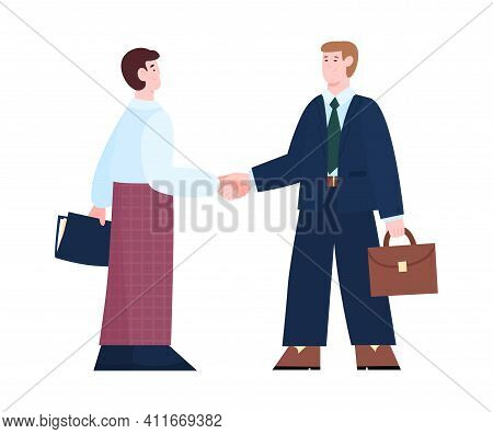 Business People Handshake And Agreement, Cartoon Vector Illustration Isolated On White Background. B
