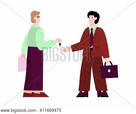 Man Seller Or Manager Hands Over The Keys To Client Or Buyer, Cartoon Vector Illustration Isolated O