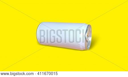 White Sleek Cans Isolated On Yellow Color Background.  Stay On Tab Opening Mechanism. Suitable For D