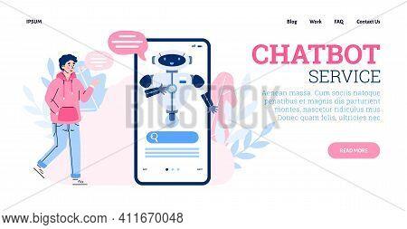 Website Banner Mockup For Chatbot Customer Service, Cartoon Vector Illustration. Chatbot Application