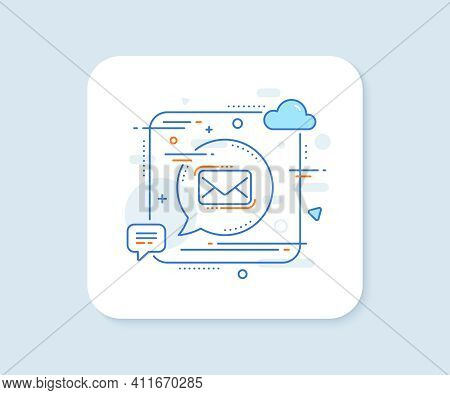 Messenger Mail Line Icon. Abstract Square Vector Button. New Newsletter Sign. Phone E-mail Symbol. M