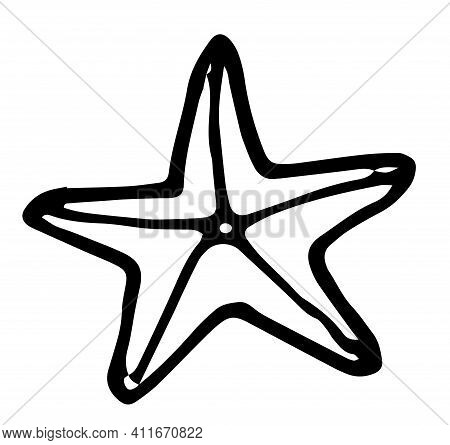 Doodle Starfish In Hand Drawn Style On White Background. Vector Illustration Design. Line Art.doodle
