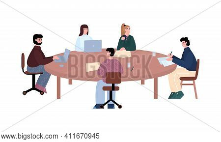 Business People Negotiation Scene With Cartoon Characters, Flat Vector Illustration Isolated On Whit
