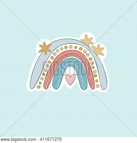 Rainbow. Set. Cartoon Doodle Rainbow. Isolated Vector Object.