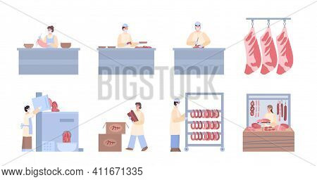 Meat Processing Stages Or Steps Infographic Set, Cartoon Vector Illustration Isolated On White Backg