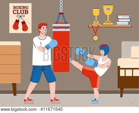 Dad Giving His Child Lesson Of Box Fight, Flat Cartoon Vector Illustration. Loving Father Teaching H