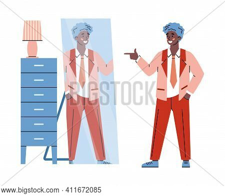 Confident Self-satisfied Young Man Smiling To His Reflection In Mirror, Cartoon Vector Illustration